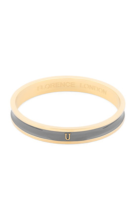 Grey/Gold Bangle with Personalised U Initial by Florence London