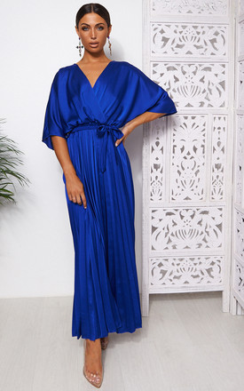 Blue Cape Sleeve Satin Maxi Dress by The Fashion Bible Product photo