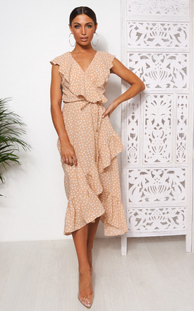 Mica Beige Polka Dot Frill Wrap Midi Dress by The Fashion Bible Product photo
