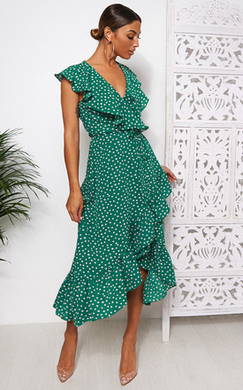 Mica Green Polka Dot Frill Wrap Dress by The Fashion Bible Product photo