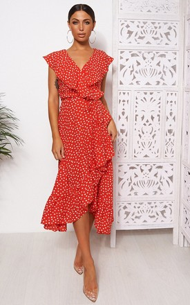 Mica Red Polka Dot Frill Wrap Midi Dress by The Fashion Bible Product photo