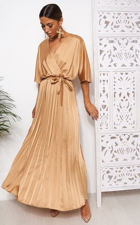 Gold Cape Sleeve Satin Maxi Dress by The Fashion Bible Product photo