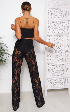 BLACK LACE WIDE LEG TROUSERS by The Fashion Bible