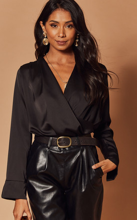 Silky Wrap Bodysuit In Black by Foreva Young Product photo