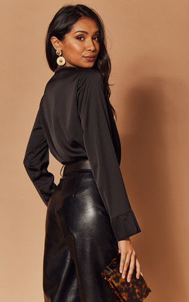 Silky Wrap Bodysuit in Black by Foreva Young
