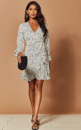 Wrap Dress In White Speckle Print by Foreva Young Product photo