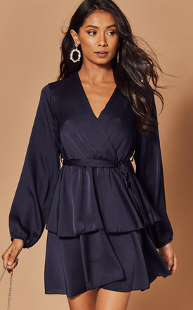 Silky Wrap Dress with Peplum in Navy by Foreva Young