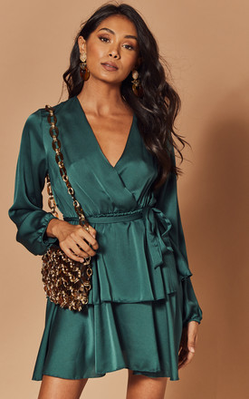 Silky Wrap Dress With Peplum In Teal by Foreva Young Product photo