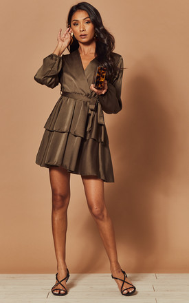 Silky Wrap Dress With Peplum In Khaki by Foreva Young Product photo