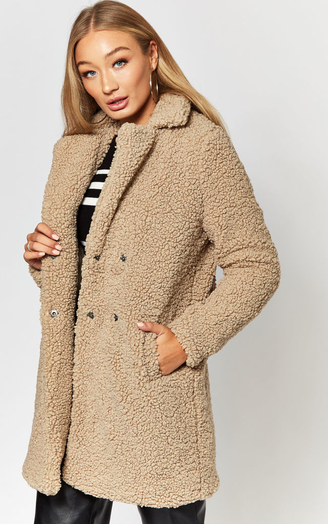 Teddy Coat in Beige by Noisy May