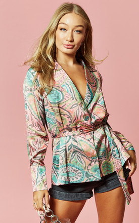 Printed Belted Blazer Blouse In Paisley by Glamorous Product photo