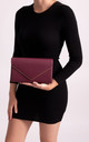 Mila Burgundy Faux Leather Envelope Bag by KoKo Couture