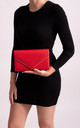 Mila Red Faux Leather Envelope Bag by KoKo Couture