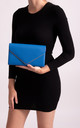 Mila Royal Blue Faux Leather Envelope Bag by KoKo Couture