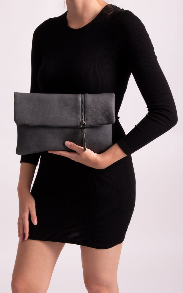 Layla Faux Leather Clutch in Charcoal by KoKo Couture