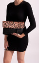 Layla Faux Leather Clutch in Leopard Print by KoKo Couture