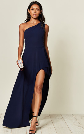 One Shoulder High Leg Maxi Dress In Navy by Goddiva Product photo