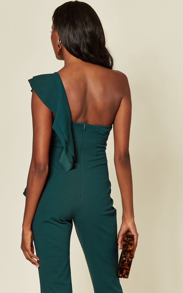 One Shoulder Frill Jumpsuit in Emerald Green by Goddiva