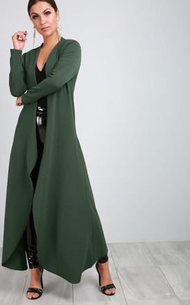 Long Sleeve Waterfall Maxi Jacket in Khaki by Oops Fashion