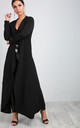 Long Sleeve Waterfall Maxi Jacket in Black by Oops Fashion
