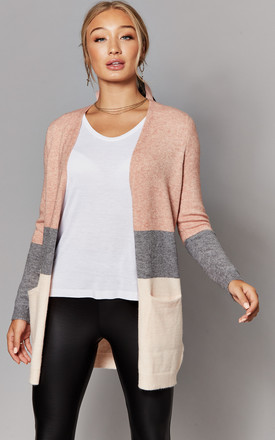 Open Front Cardigan In Pink Stripe by ONLY Product photo