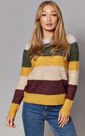 Long Sleeve Jumper in Yellow / Green Stripe by ONLY