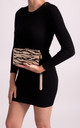 Becky Tassel Box Clutch Bag In Gold Glittery Zebra Print by KoKo Couture