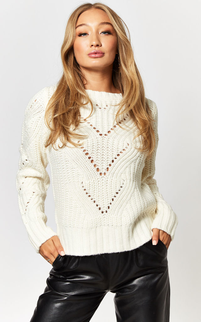 Jumper with patterned knit in White by Noisy May