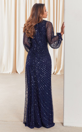 DAISIANNE EMBELLISHED LONG SLEEVE MAXI DRESS IN NAVY by Sistaglam