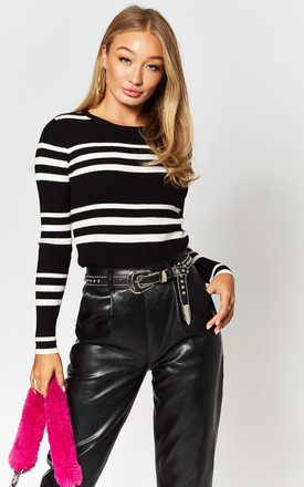 Ribbed Knitted Top In Black/White Stripe by Noisy May Product photo