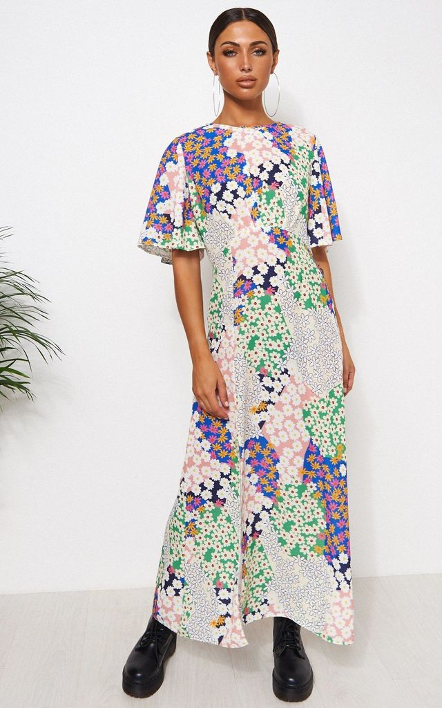 CHLOE CAPE SLEEVE FLORAL MAXI DRESS by The Fashion Bible