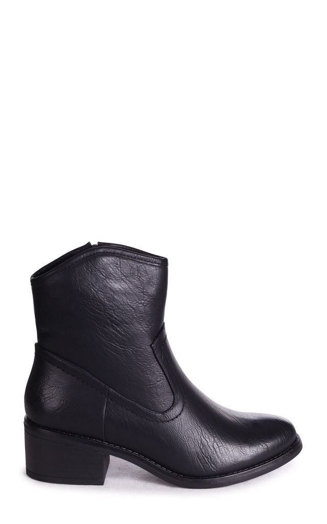Shotgun Cowboy Style Ankle Boots in Black Nappa by Linzi