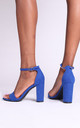 Nelly Barely There Block Heels in Blue Suede by Linzi