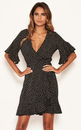 Black Spotty Wrap Frill Dress by AX Paris Product photo