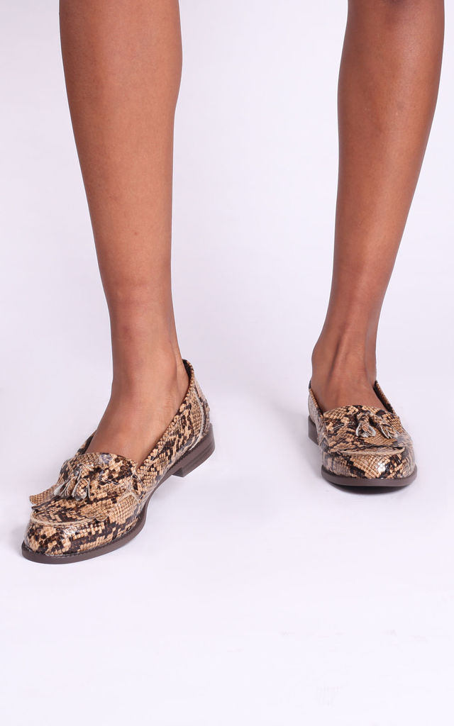 Rosemary Loafers in Mocha Snake Print by Linzi