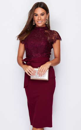 Lyla High Neck Lace Top Midi Dress Berry by Girl In Mind Product photo