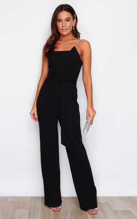 Sassi Tie Waist Square Neck Diamante Strap Jumpsuit Black by Girl In Mind Product photo