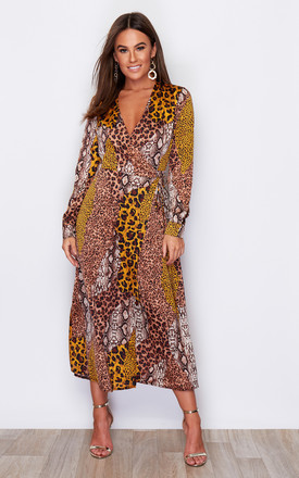 Adrianna Tie Waist Long Sleeve Wrap Midaxi Dress Animal Print by Girl In Mind Product photo