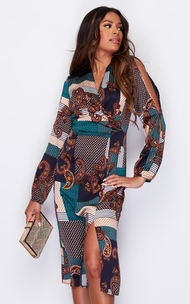 Regina Split Front V Neck Arm Slit Detail Midi Dress Green Paisley Print by Girl In Mind Product photo