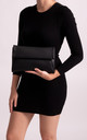 Stacy Black Faux Leather Foldover Clutch Bag by KoKo Couture