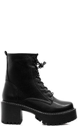 Rock Military Platform Ankle Boots in Black Faux Leather by SpyLoveBuy