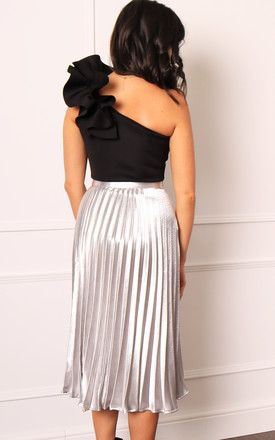 Pleated High Waisted Midi Skirt in Silver Metallic Satin by One Nation Clothing
