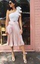 Pleated High Waisted Midi Skirt in Rose Gold Metallic Satin by One Nation Clothing