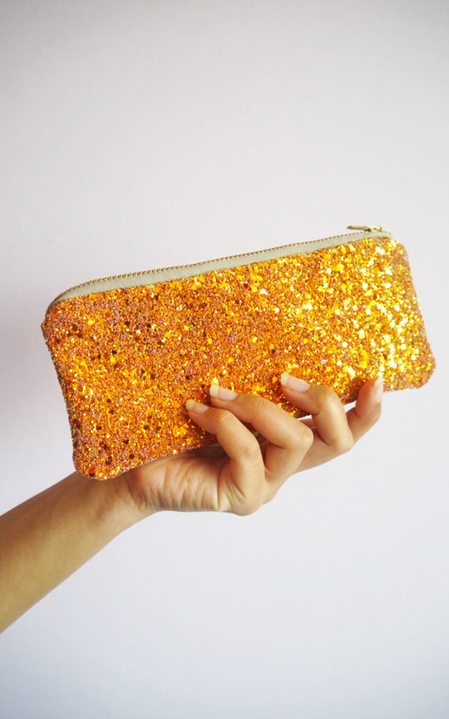 Glitter Sunglasses Case in Burnt Orange by Suki Sabur Designs