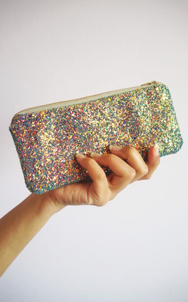 Glitter Sunglasses Case In Purple Rainbow by Suki Sabur Designs Product photo