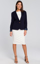 Short Blazer with Single Button in Navy Blue by MOE