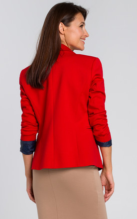 Short Blazer with Single Button in Red by MOE