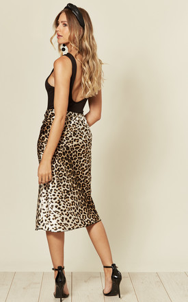 SATIN HIGH WAIST MIDI SKIRT in LEOPARD PRINT by EDGE STREET