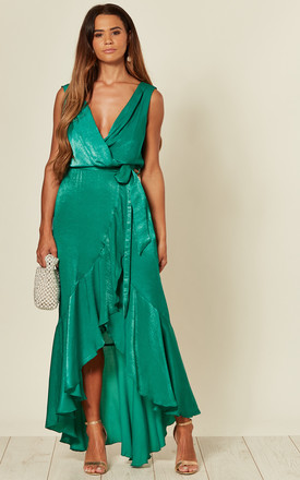 Cecilia Sleeveless Wrap Front Maxi Dress In Emerald Green by FLOUNCE LONDON