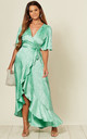 Satin Wrap Front Maxi Dress in Mint Jacquard by FLOUNCE LONDON